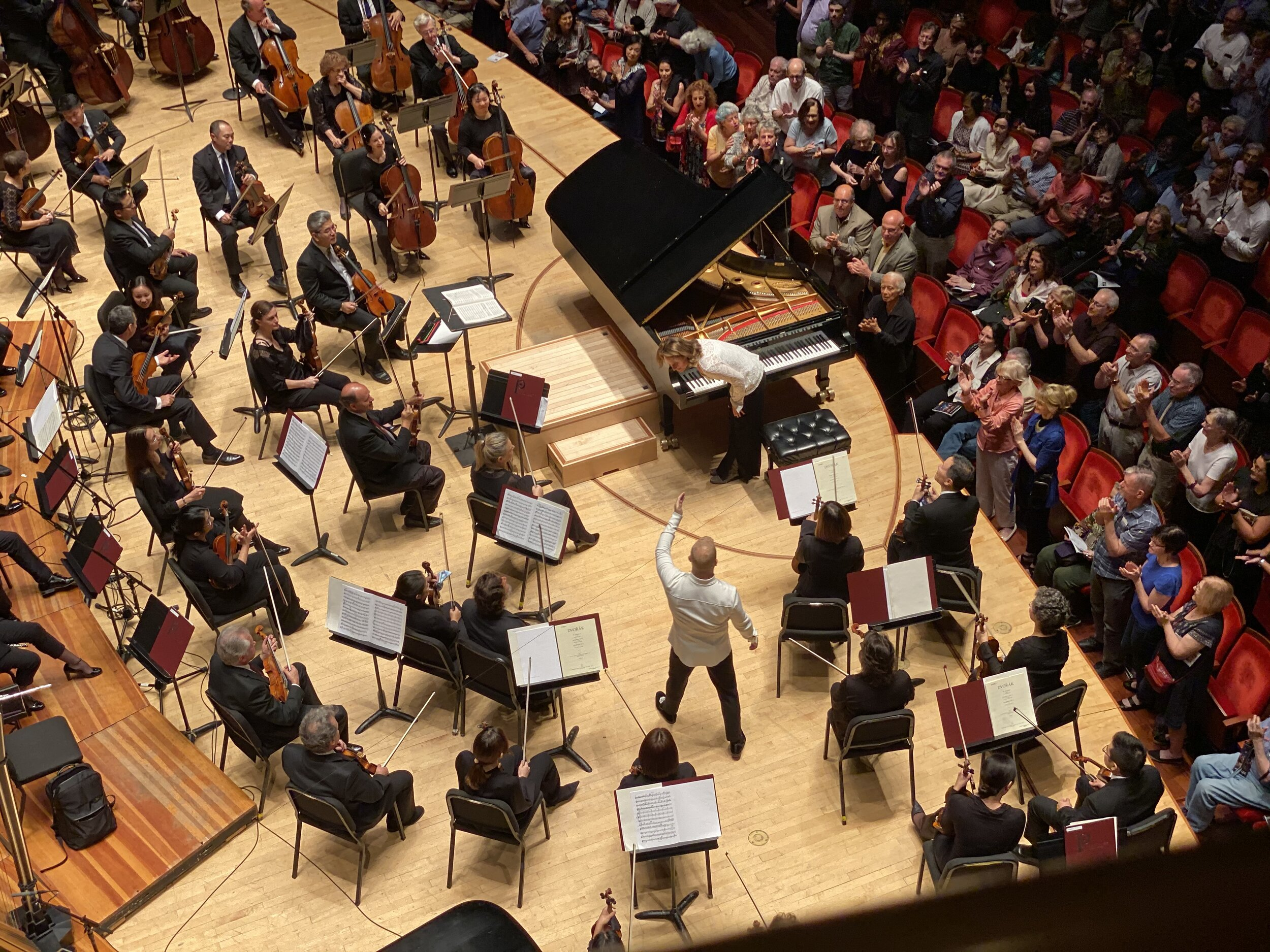 Yannick and Hélène Grimaud taking bows after the concerto