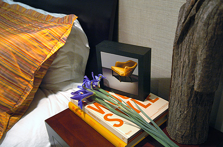 Vinette of Side table with art