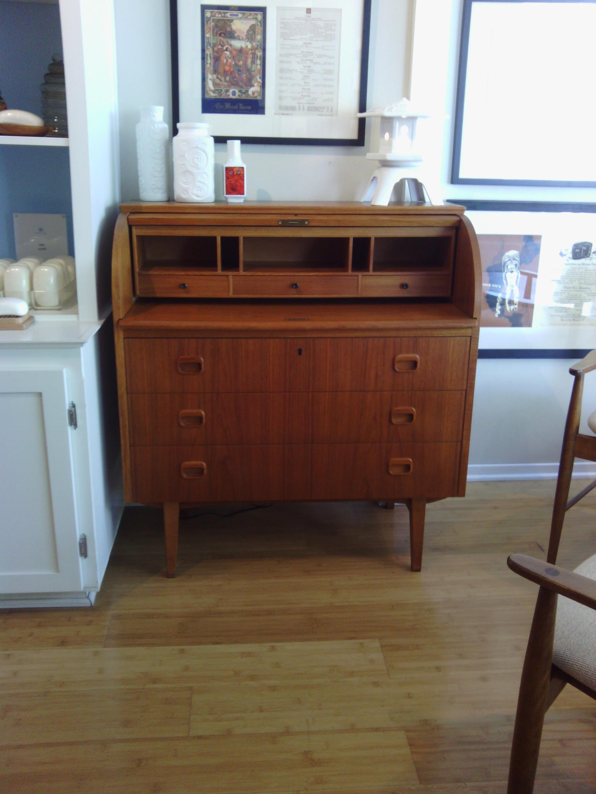Mid-century danish modern roll top desk