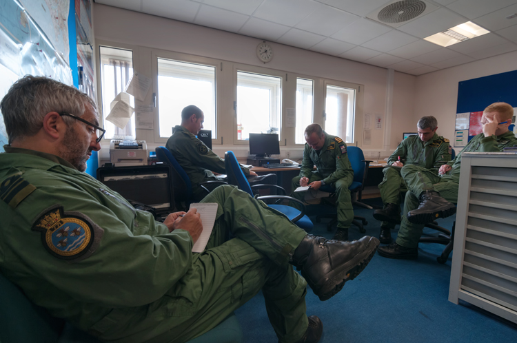 In for the morning briefing prior to our SART sortie.