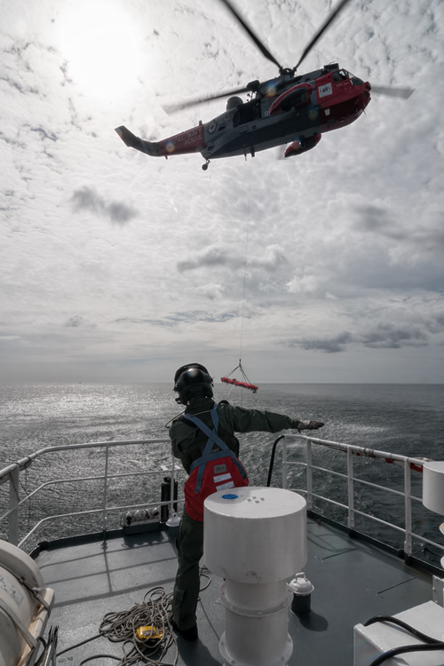 771 NAS Sea King Mk5 during winch training.