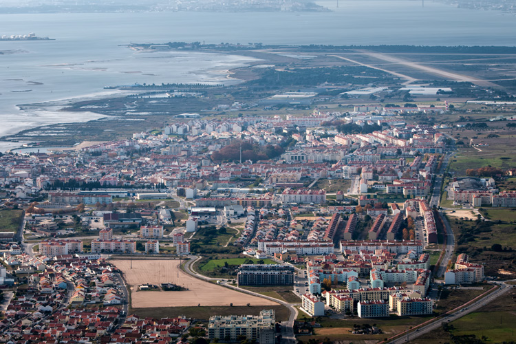 Montijo air base also known as Base Aérea Nº 6 is just visible at the top right hand of the image.