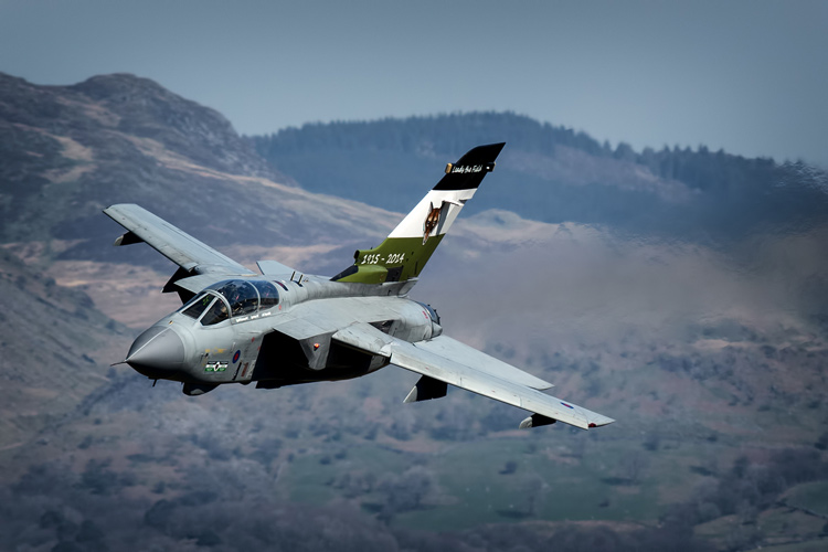 12(B) Squadron commemorative tail Tornado GR4 makes its way towards Cad in the Mach Loop, the jets last flight before RTP at RAF Leeming to sustain the current Tornado fleet.