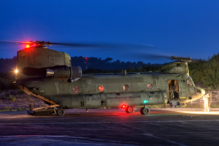 RNLAF CH-47D with rotors still running after having returned from a night mission.