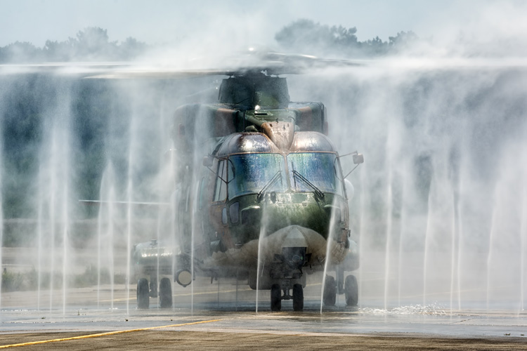 751 Squadron EH101 Merlin in the bird bath after an evasion sortie against a 201 Squadron F-16AM.