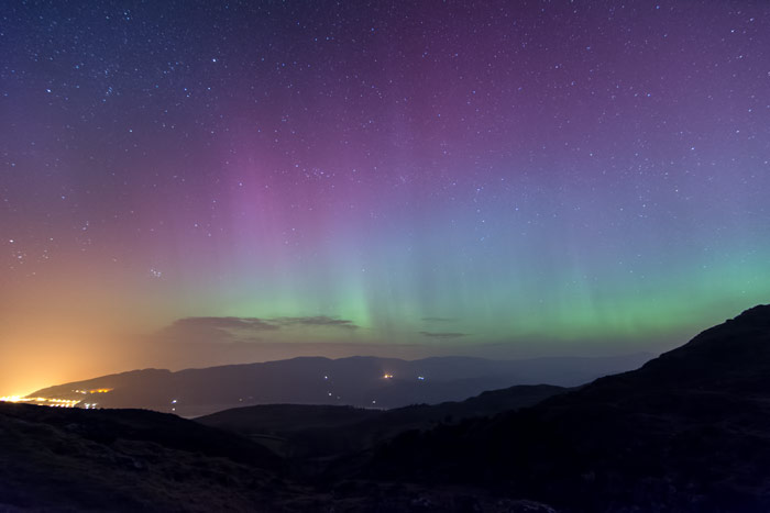The aurora borealis over Barmouth, Wales, fired using the TriggerTrap mobile remote kit.