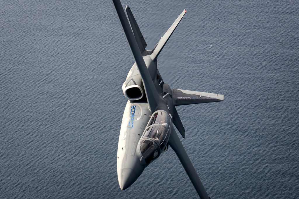 The Textron Scorpion breaks away from our camera ship off the coast of Cornwall.