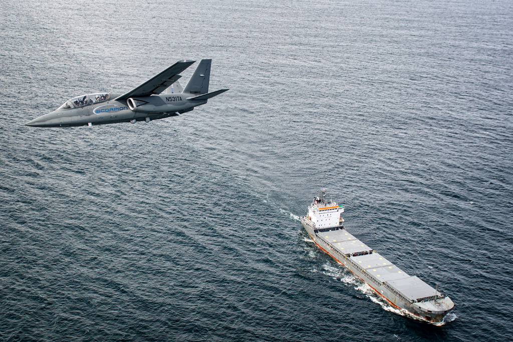 Flying over a civilian vessel off the coast of Cornwall.