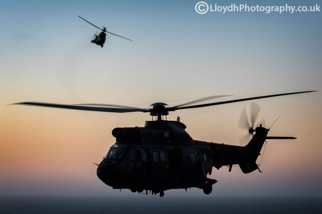 Two AS332B Super Pumas from BHELMA VI perform an aerial ballet during a return flight to Lanzarote.
