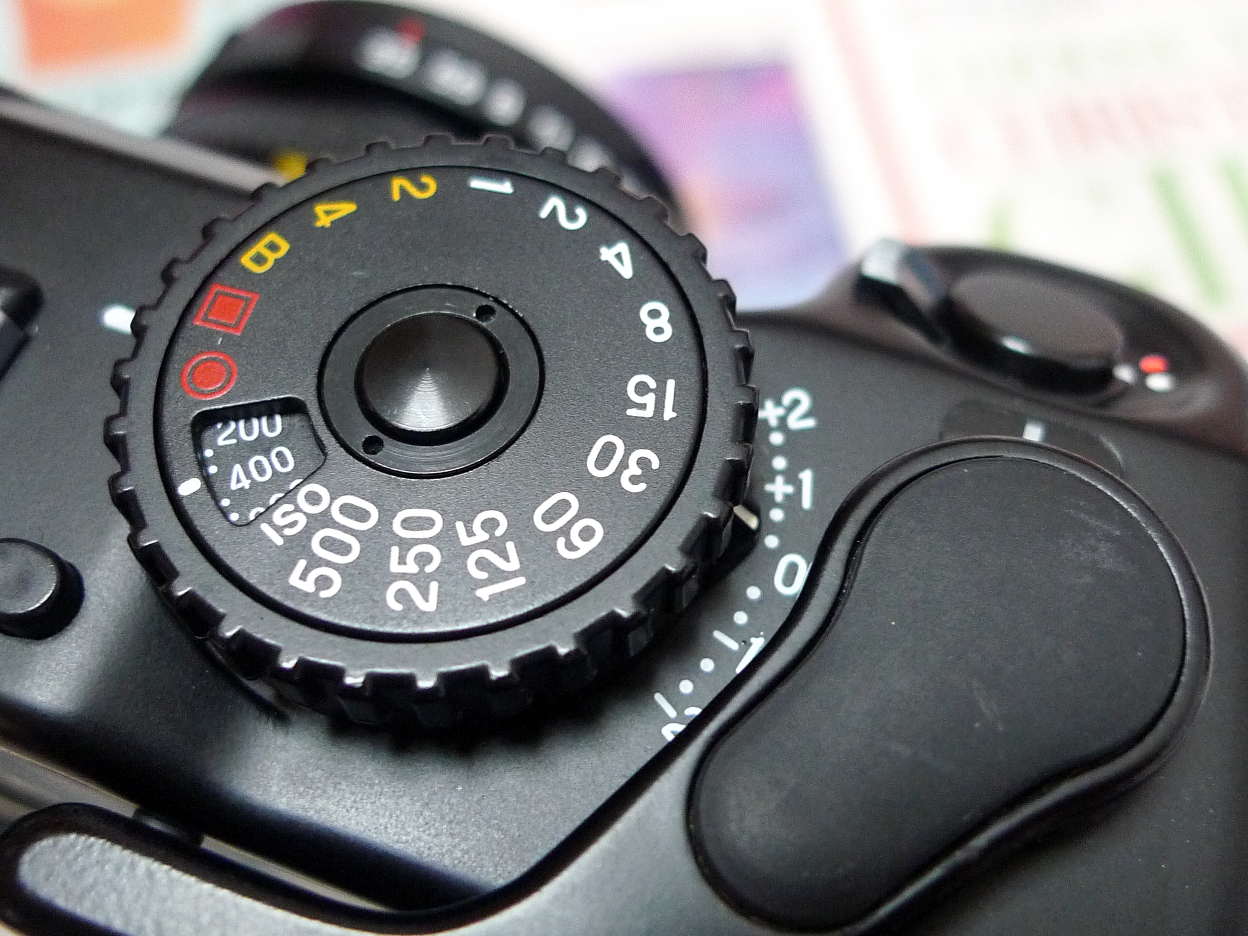 Shutter speed dial, EV compensation dial and ISO selection dial