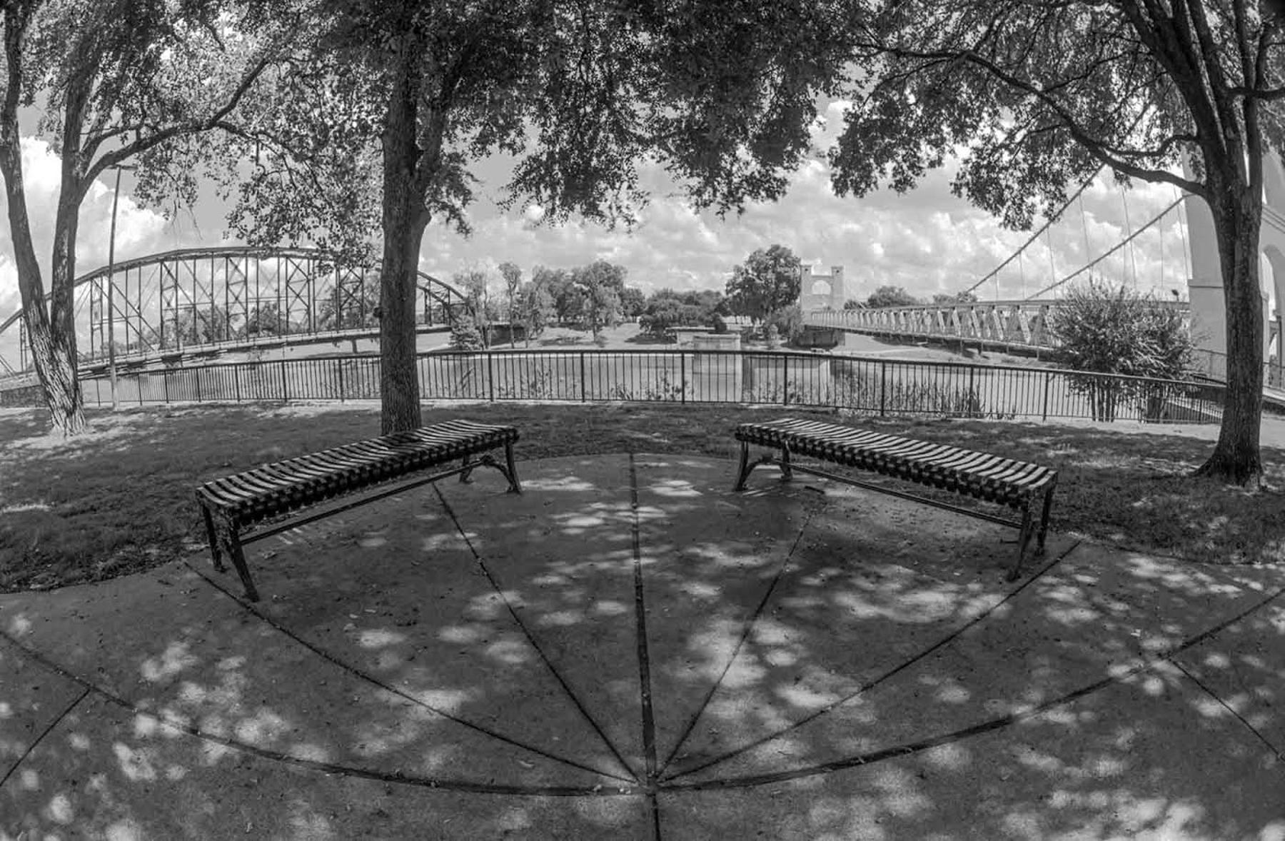 Bridges and Benches. Brazos River, Waco, Texas