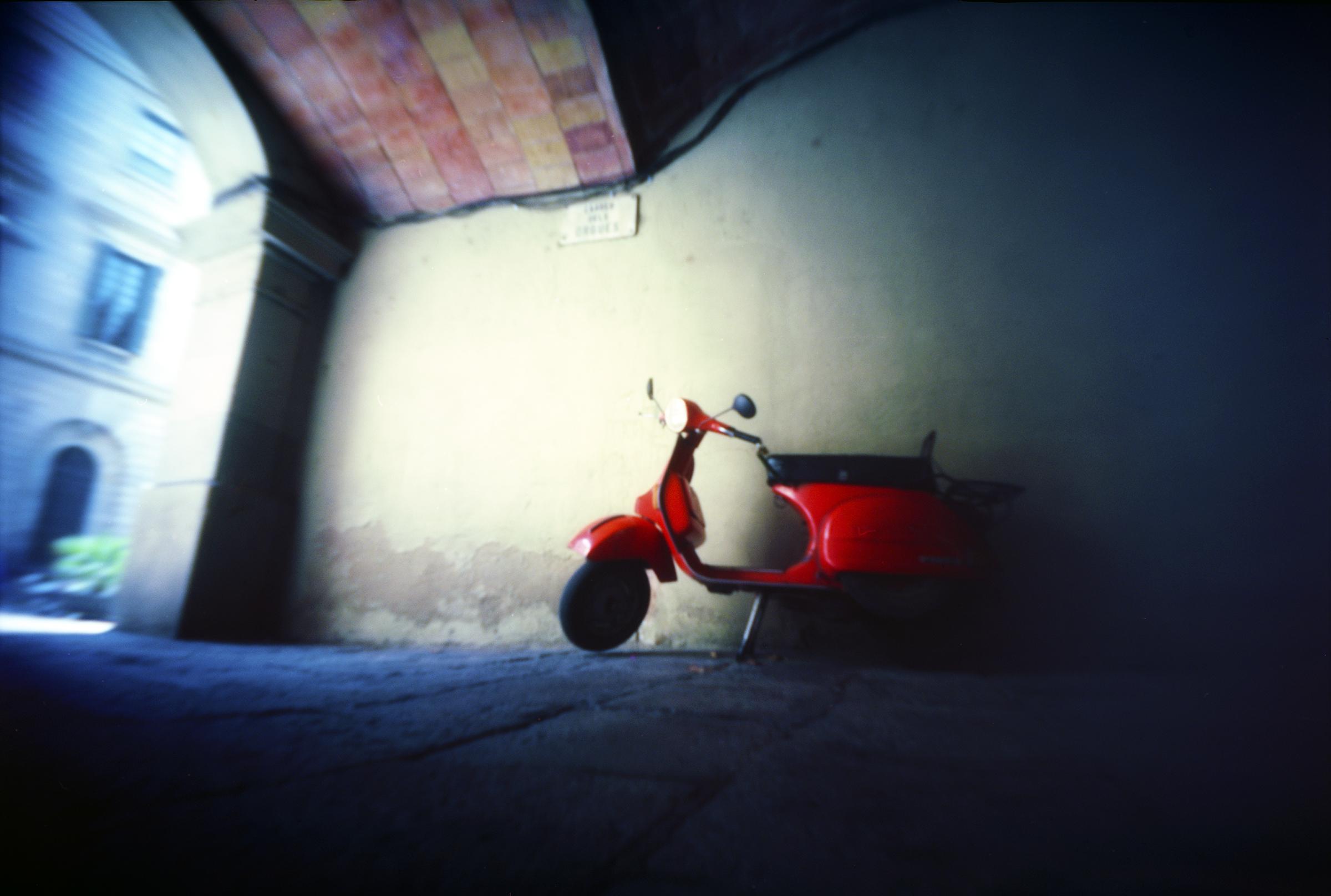 Red scooter - Barcelona, Spain - Aug 24th 2013 - Kodak Ektar 100 in a hacked MIOM Photax Blindé curved plane pinhole camera
