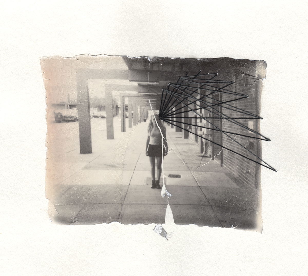 Hallway | Polaroid Spectra | Impossible Project Spectra BW | Emulsion Lift With Thread | Jocelyn Mathewes | @jocelynmathewes