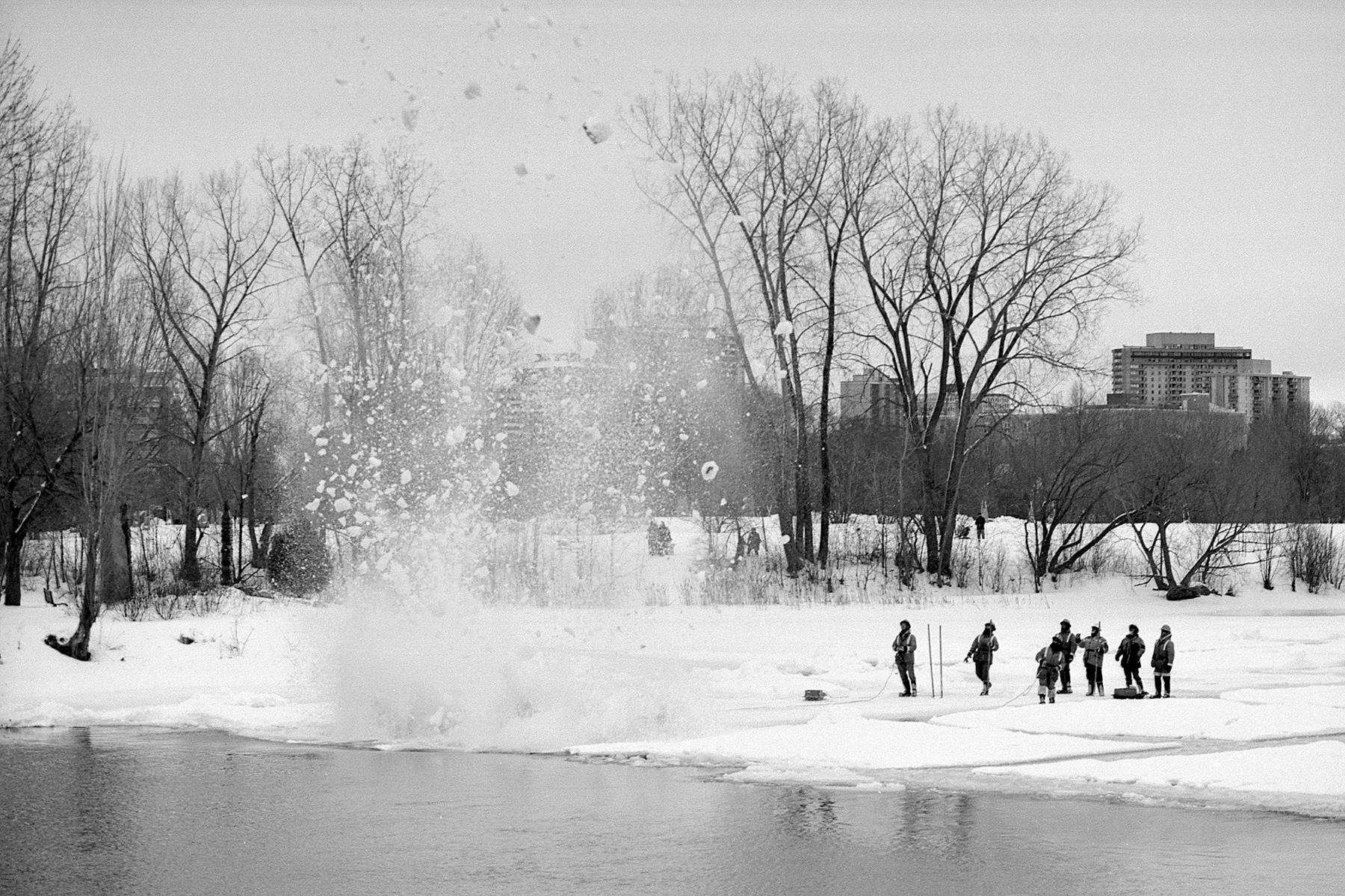 Dynamiting the River   NIkon FE2   XP2   Howard Sandler