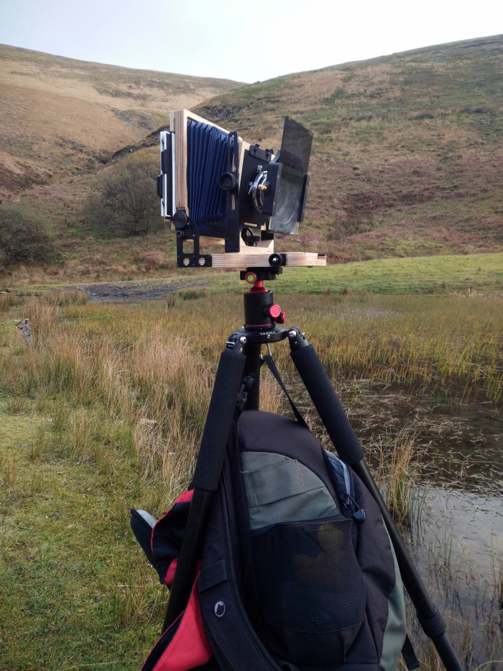 The Intrepid mounted on tripod weighed down with camera bag to prevent it blowing over again.