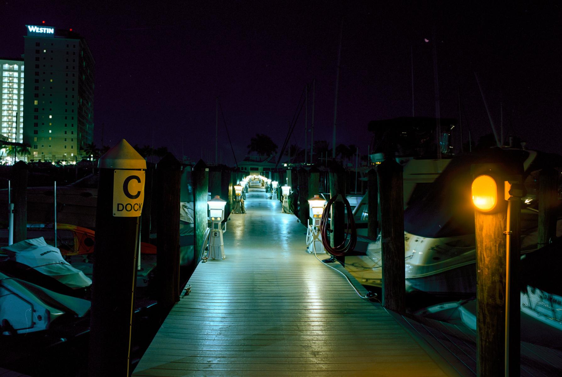 Robert Rogers | Dock C at Night | Mamiya 645 Pro TL | 45mm lens 1 min 8sec @ f-16 | Kodak Ektar 100