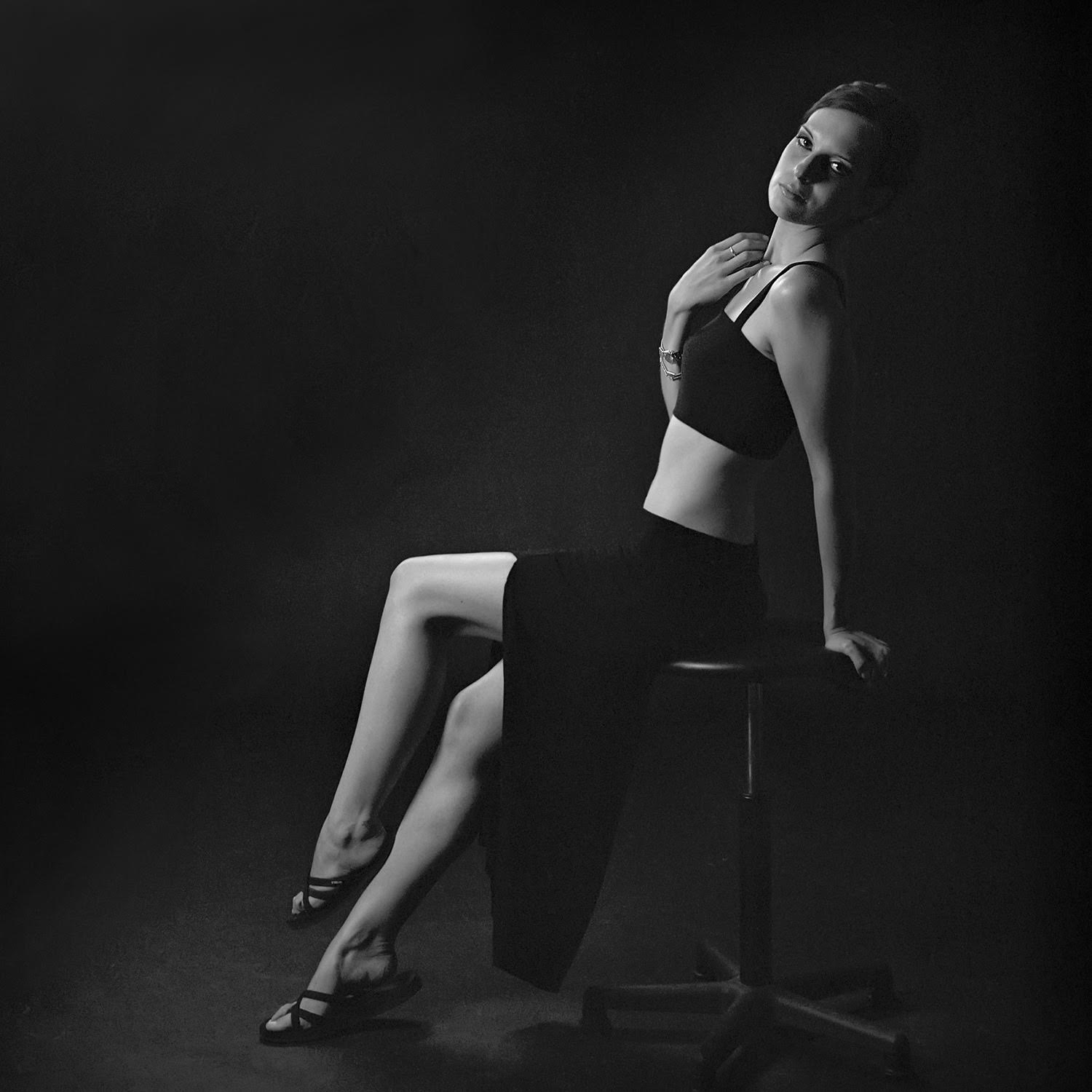 A studio shot with off-camera flash, 2014. Ilford XP2