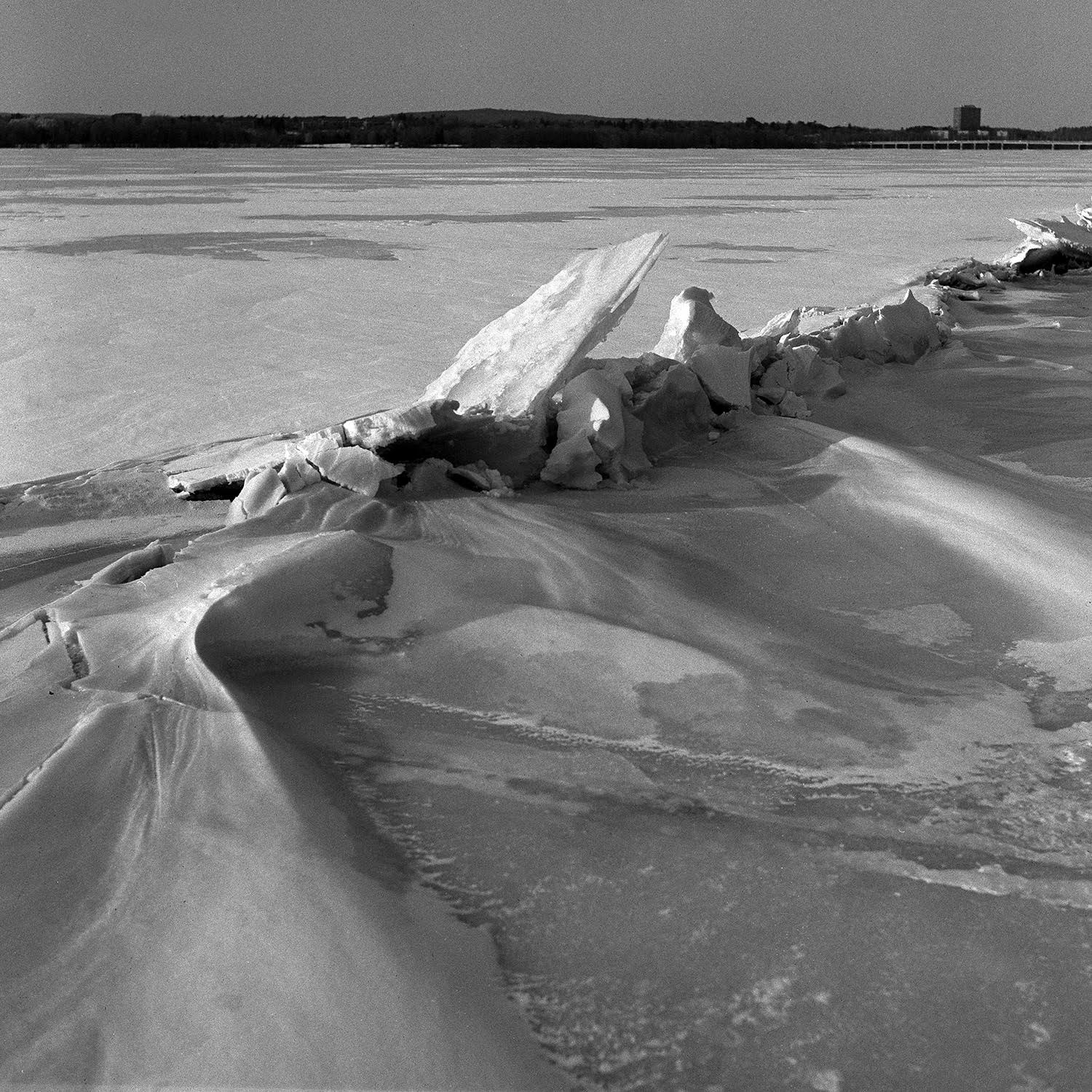 River Ice, 2017.  Ilford Delta 400. Yellow filter. The Rikenon lens is plenty sharp for my needs.
