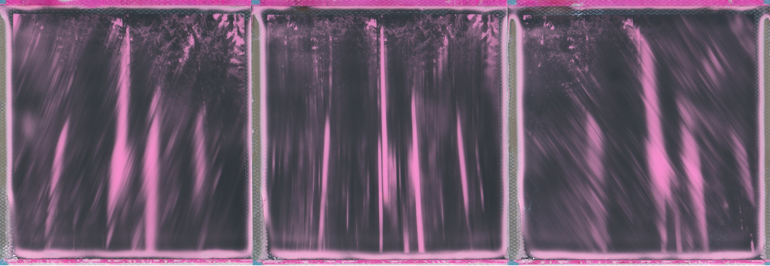 Me, Abstracted | Polaroid SX70 (Converted) | Impossible Project Black & Pink Duochrome | A Triptych | Ina Echternach