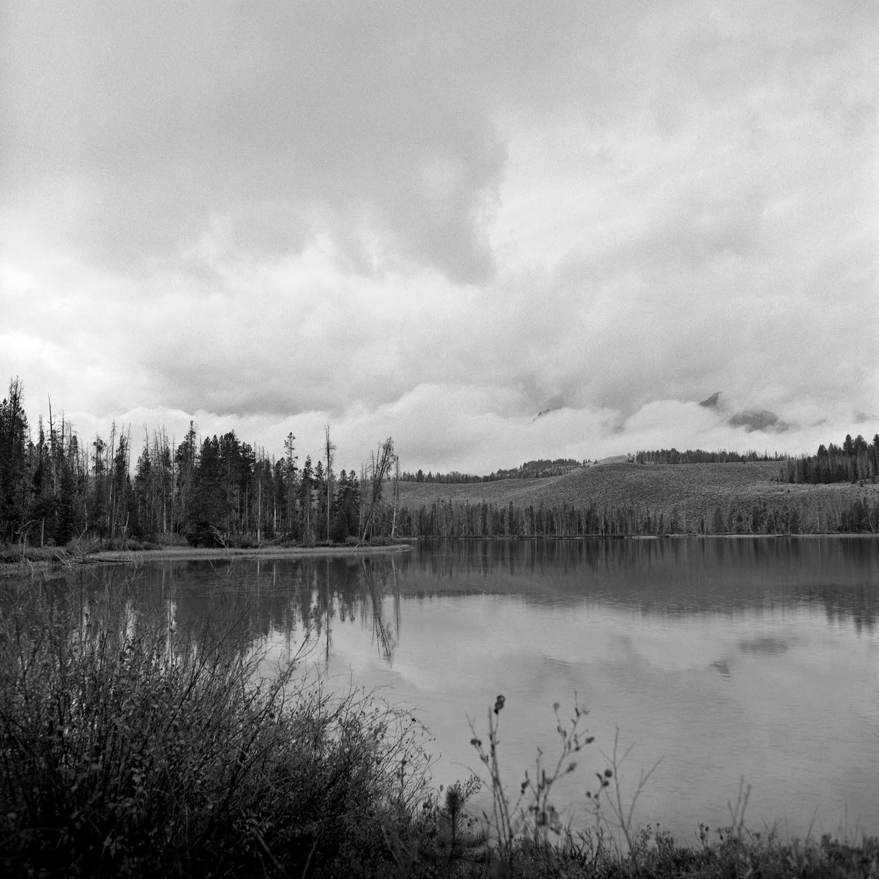 Evening view of the storm in the Sawtooth Mountains from Redfish Lake Rolleiflex FW, Ilford FP-4 plus