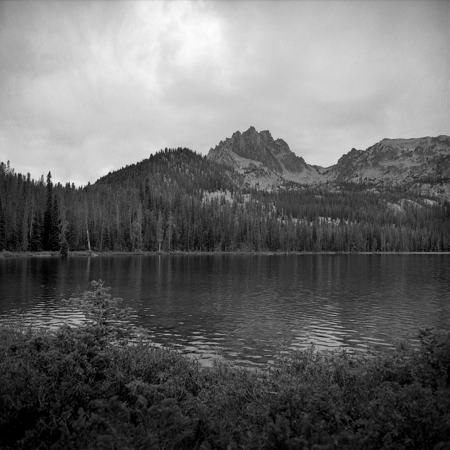 My final view of Bench Lake #1 as it began to rain Rolleiflex FW, Ilford FP-4 plus