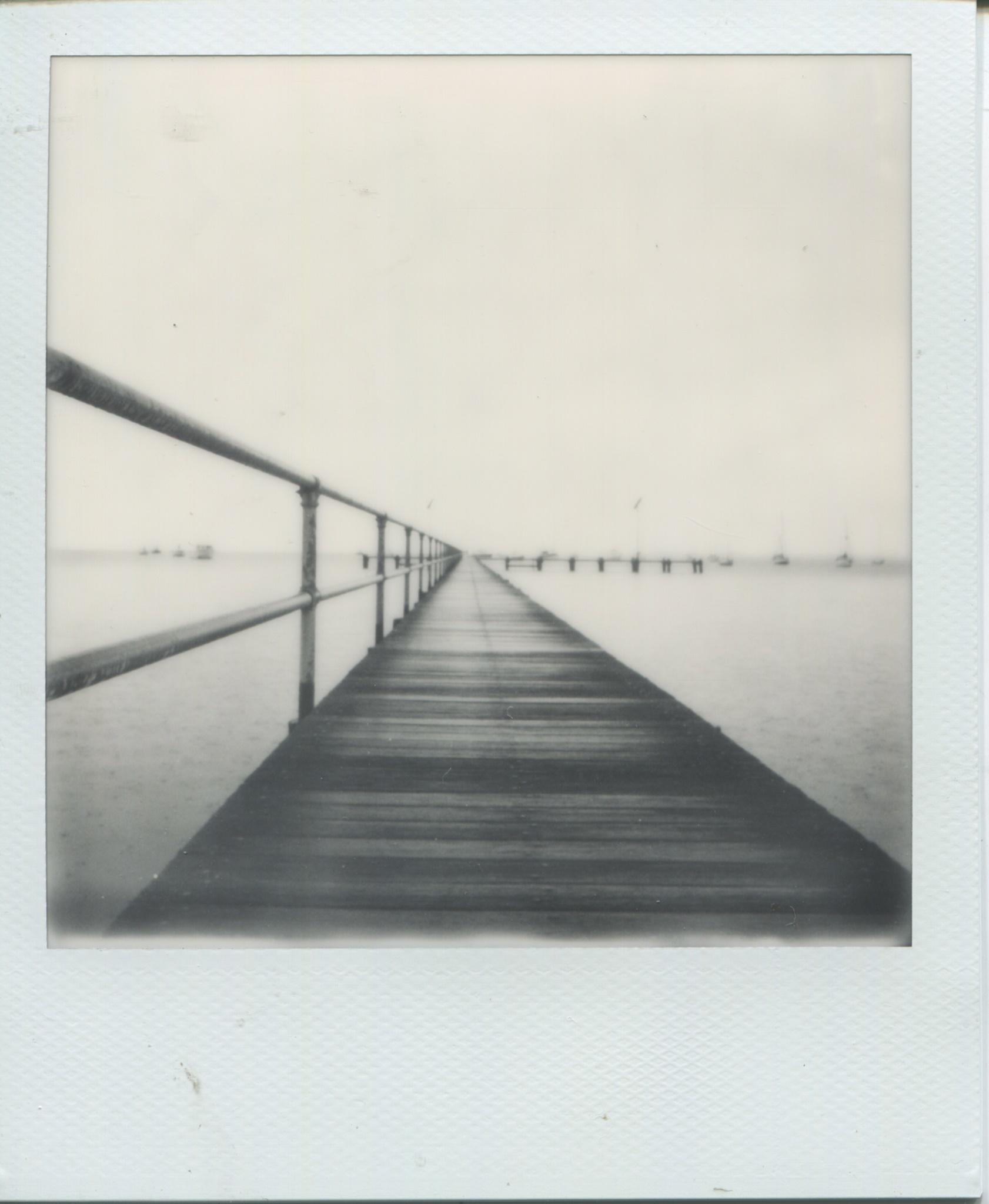 shortwalkoffalongpier | Polaroid 600 | Polaroid Originals 600 B/W | Fin Niccle