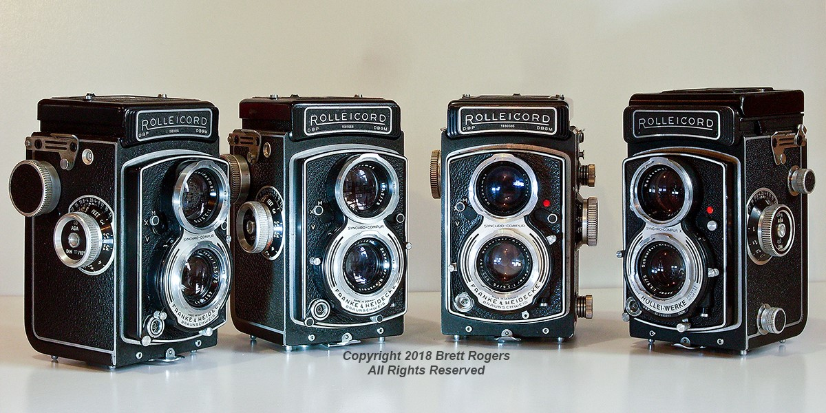 Left to Right: Two Rolleicord V models; a Rolleicord Va and; a Rolleicord Vb.