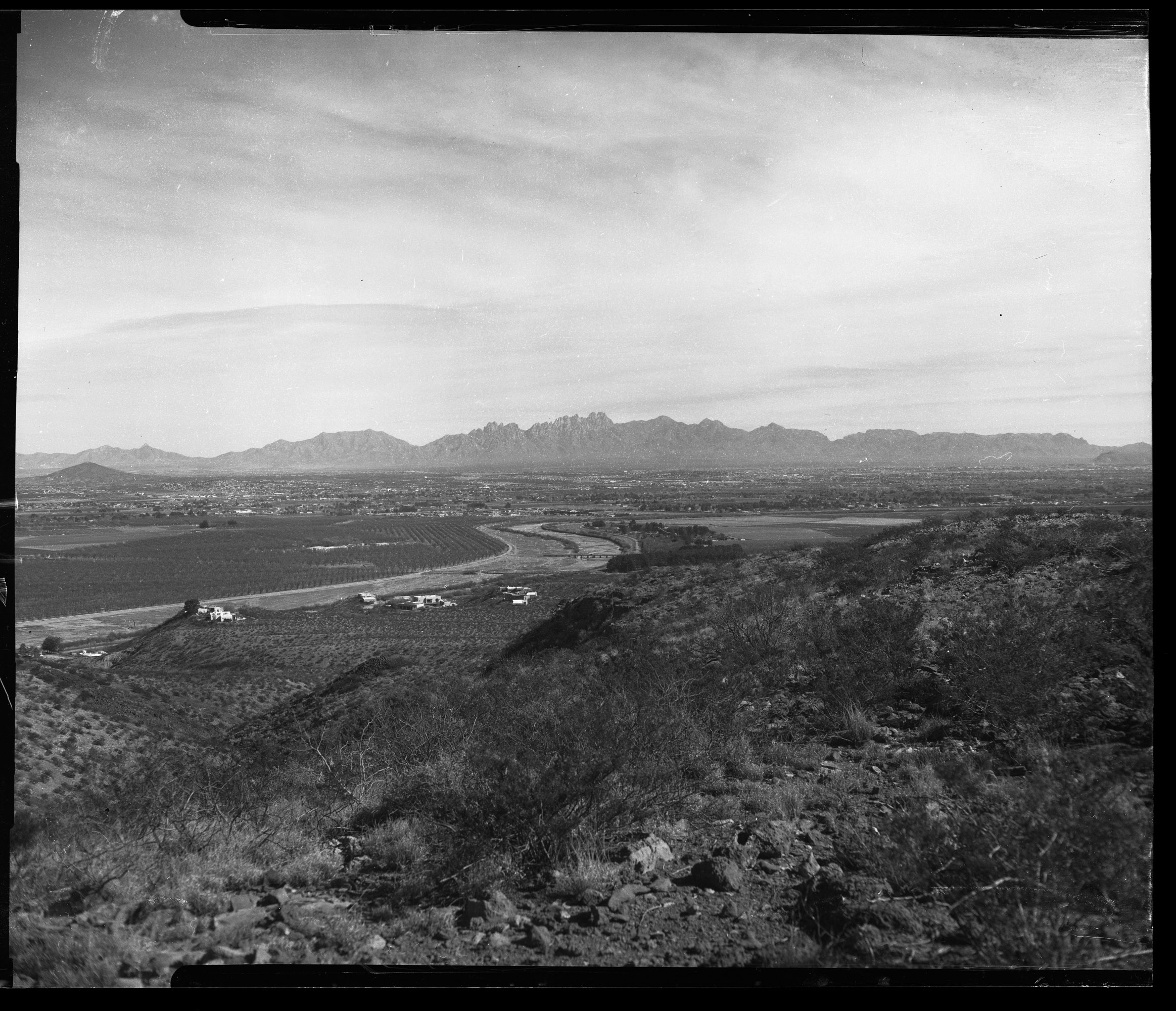 Las Cruces between the Rio Grand and the Organ Mountains from prehistoric trackways national monument. CAMERADACTYL OG 4x5, Expired (1992) Plus-X, Kodak Ektar 127mm