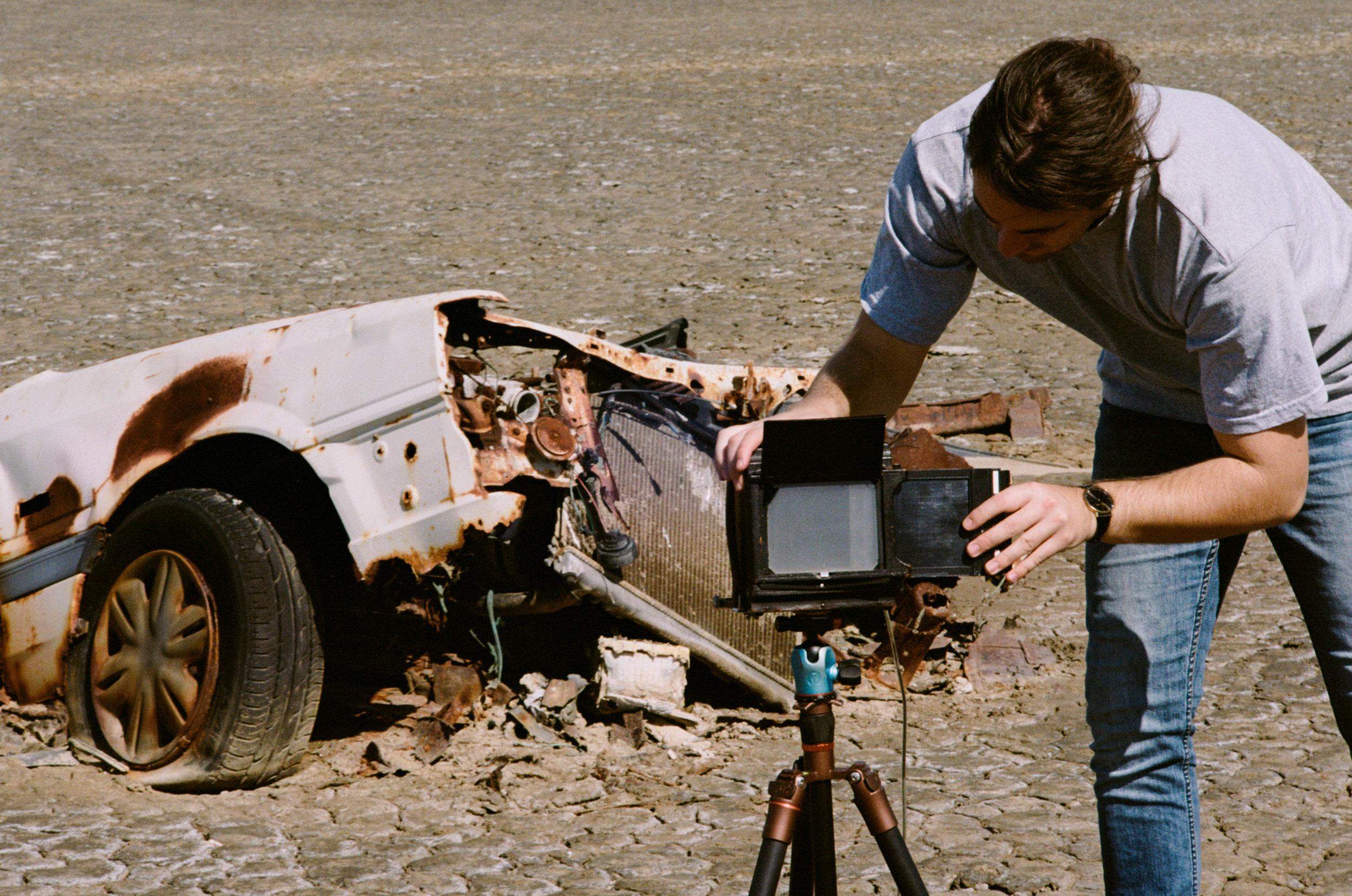 Elijah loading the holder into the camera for the shot below. Kodak Portra 400, Nikon F w/ 105mm f2.5 non-ai.