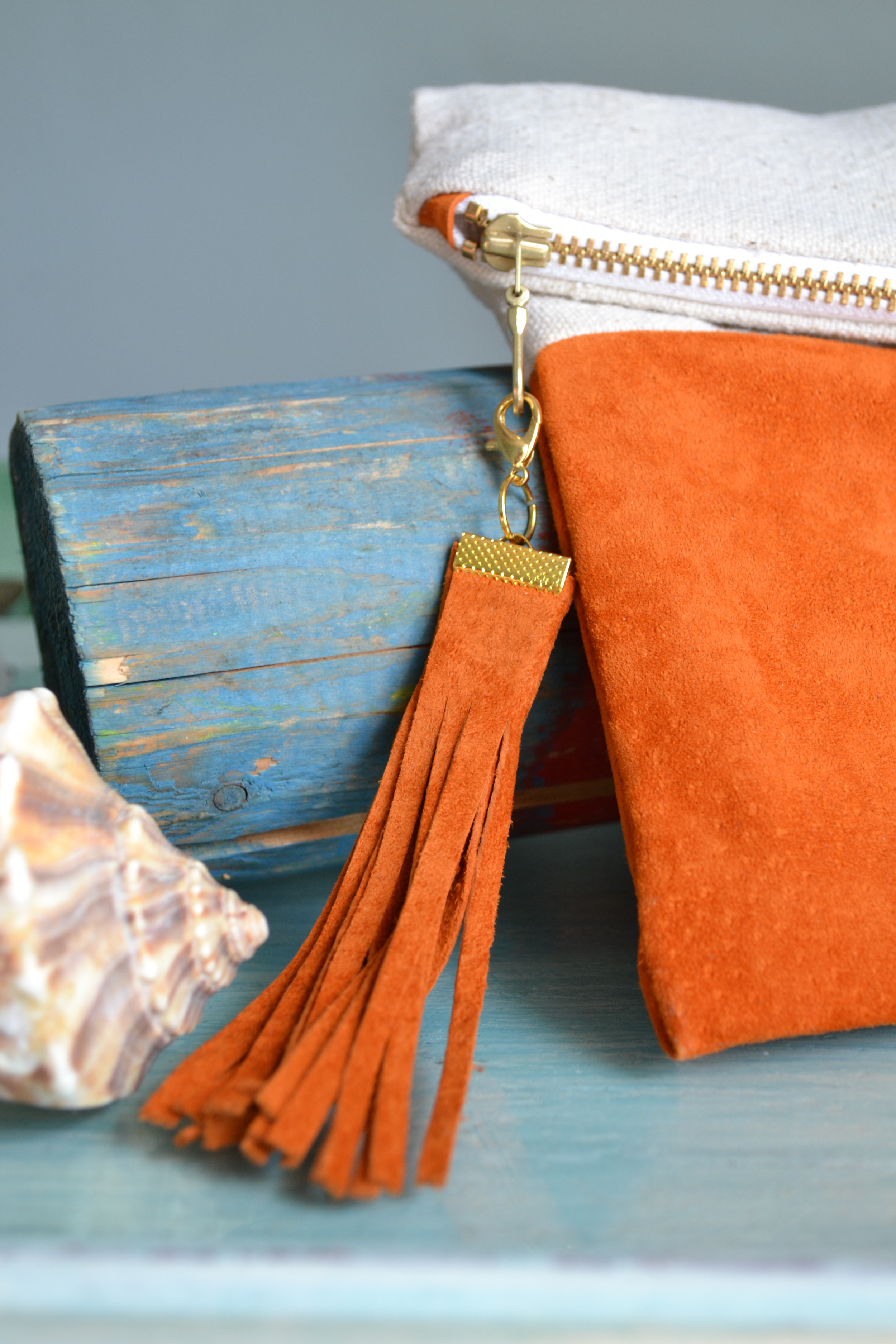 The Sundown Fold Over Clutch in Apricot