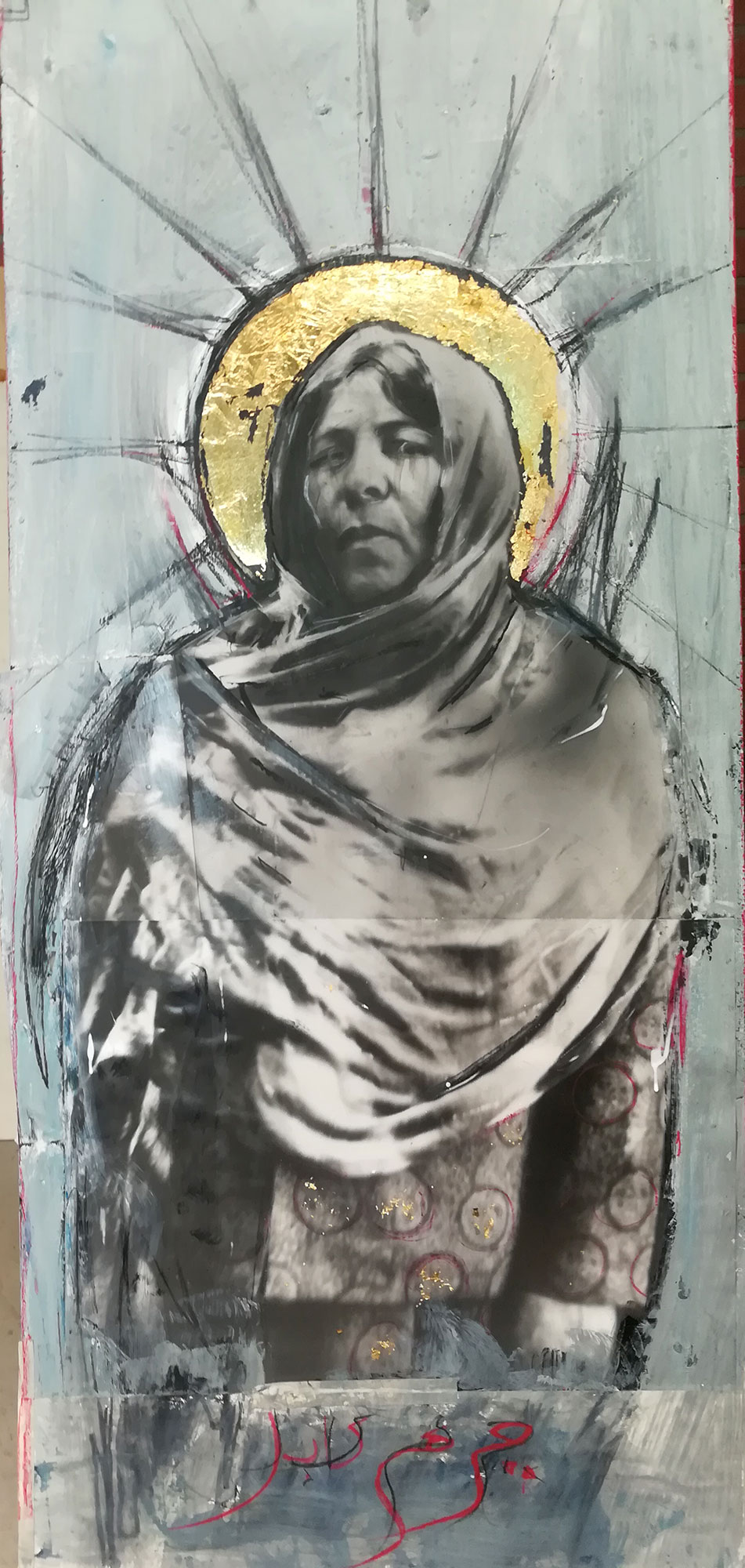 """Miryam"" Baryta photo paper, paint, charcoal, Gold leaf on wood panel 150cmX80cm"