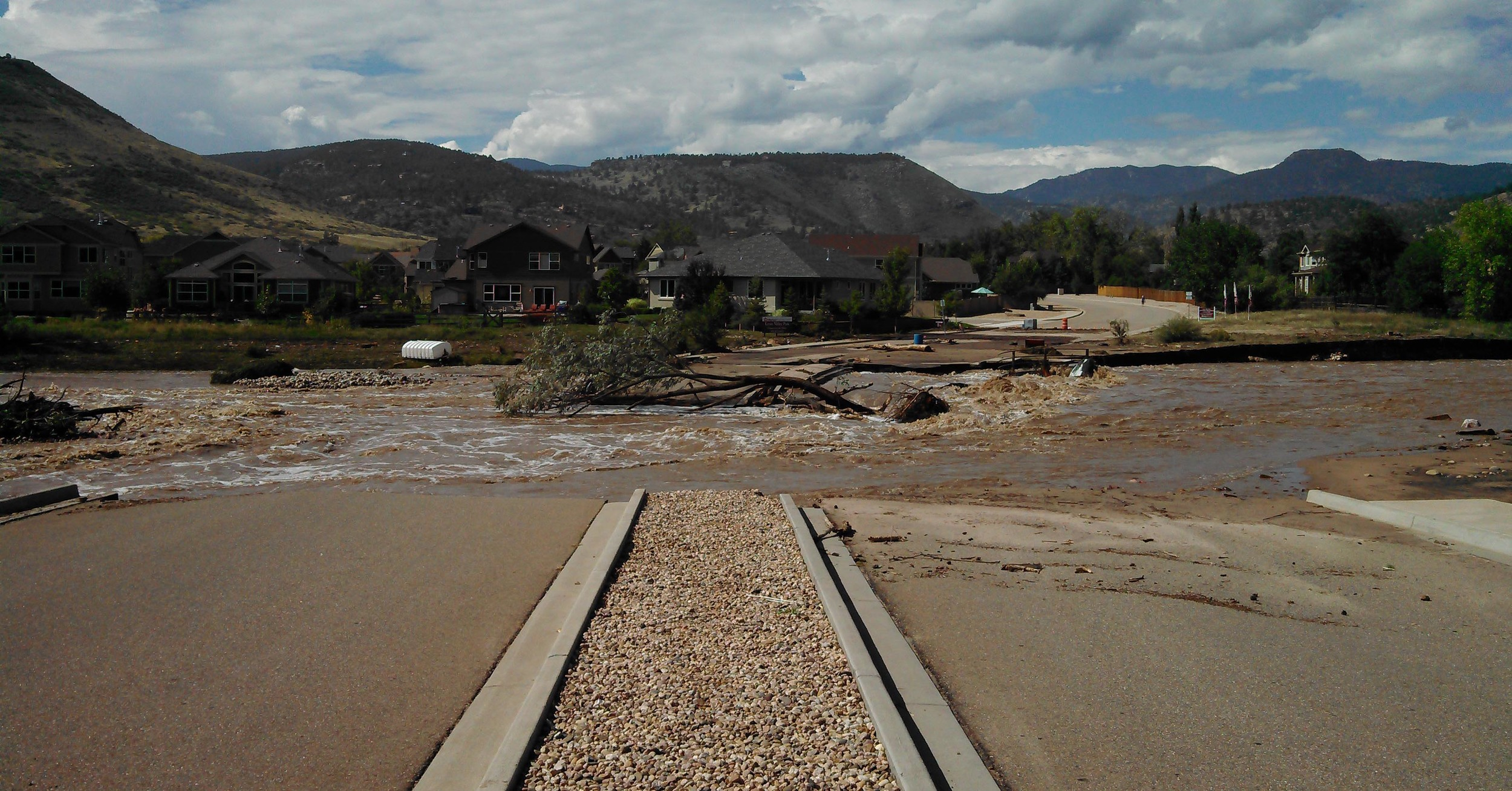 Photo of damage caused in Lyons, Colo., by Falcon UAV.