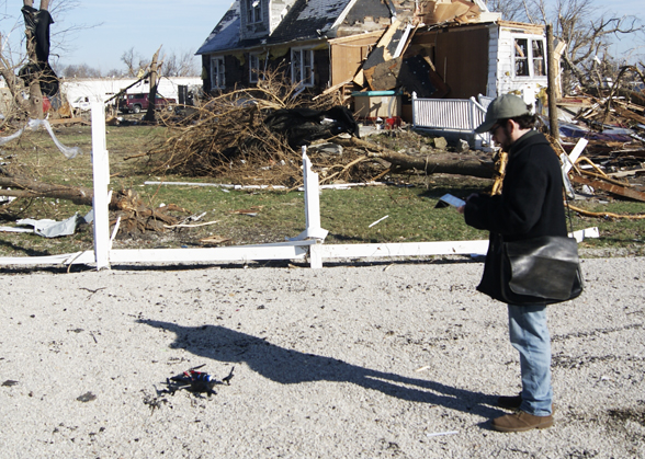 Deploying the drone in Gifford, Ill. Photo by Acton Gorton.