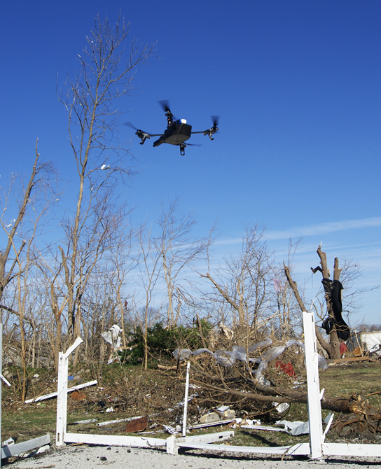 The modified AR.Drone 2.0 at work in Gifford, Ill. Photo by Acton Gorton.