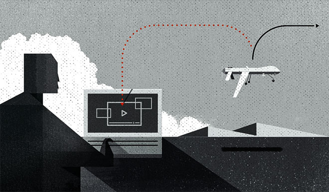Illustration from  Wired  magazine, showing how spectrum warfare can be used against military drones.