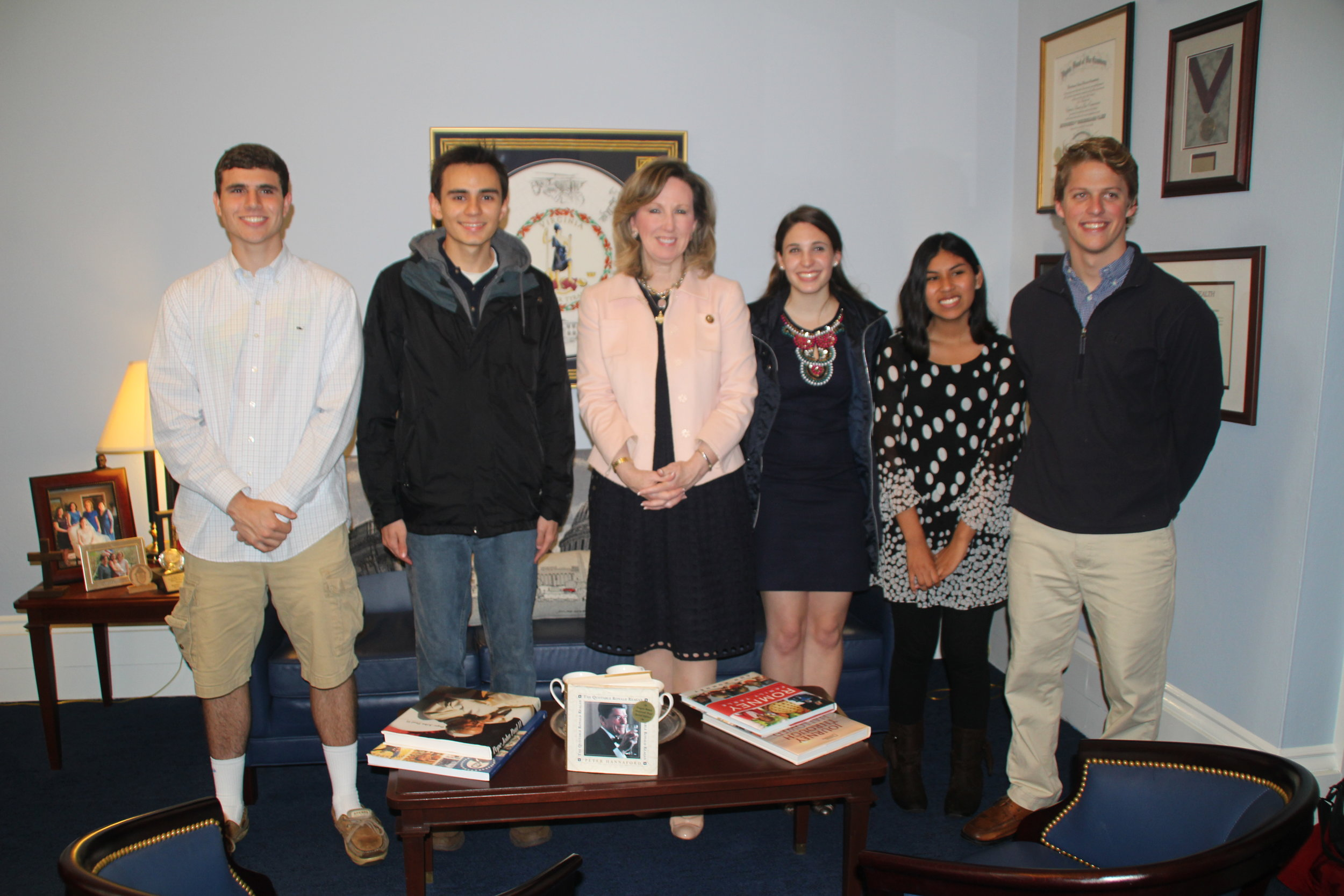 The winners in our $1000 scholarship contest are visiting Congresswoman Comstock's office