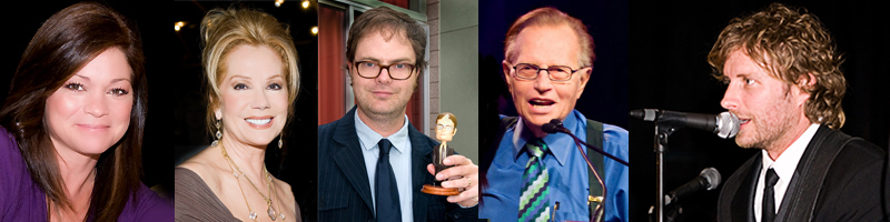 Valerie Bertinelli, Kathi Lee Gifford, Rainn Wilson, Larry King, Dierks Bently.