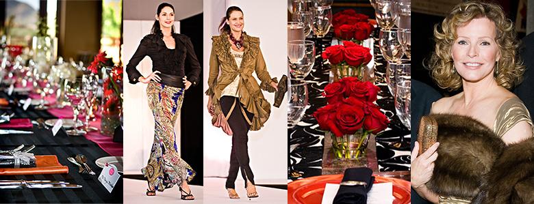 Formal event dinners; fashion shows; Cheryl Ladd