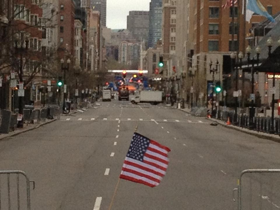 The view facing towards the finish line during the lockdown of Boston.
