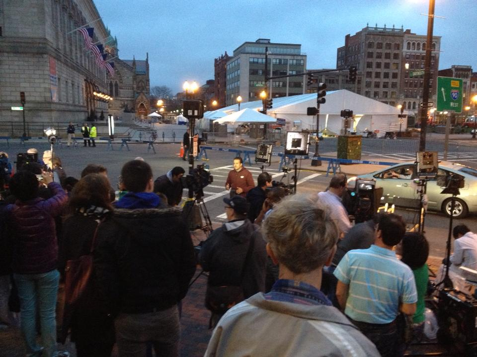 The media circus with the investigative tents ruled the closed-down Copley Square for a week.