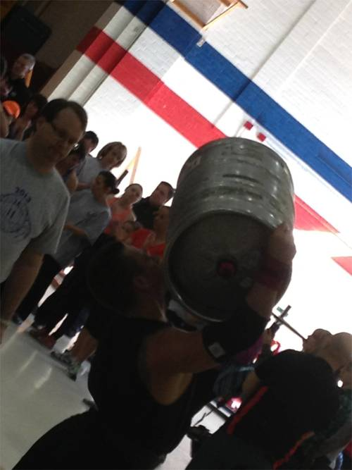 "At 150 lbs, the keg is almost as heavy as Tyler himself.  Now if only we can get him to learn the ""drop form"" . . ."