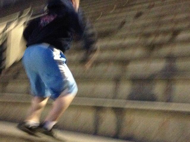 Sam hits a set of frog jumps.