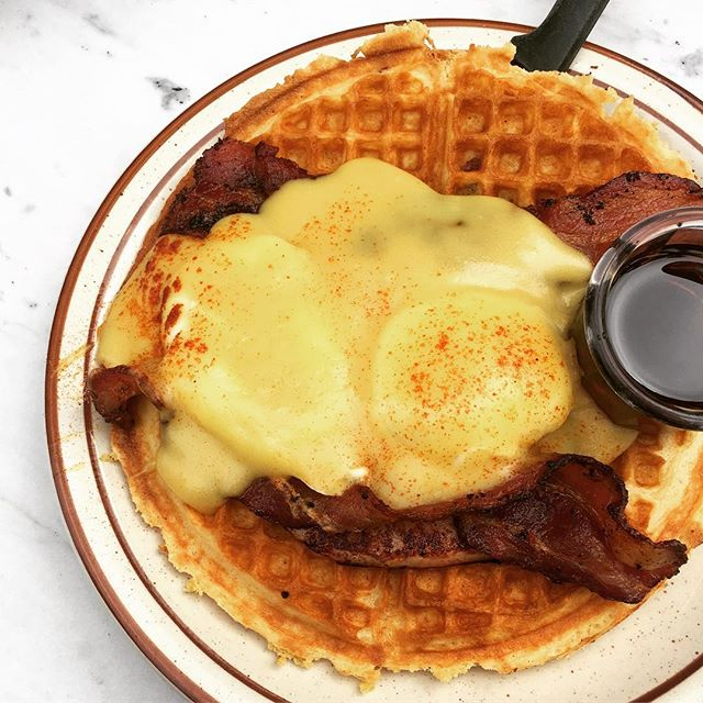 Yes, this is eggs benedict on top of a bacon waffle. No, I do not regret it.