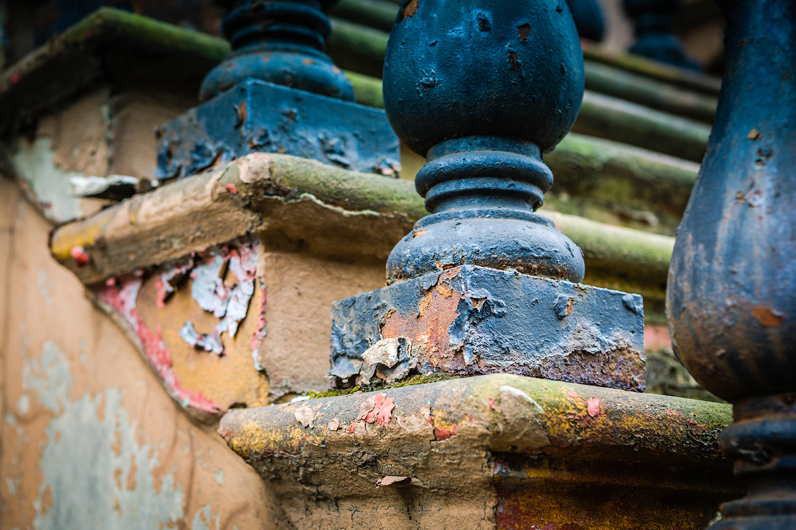 Detail of rundown brownstone steps in Harlem
