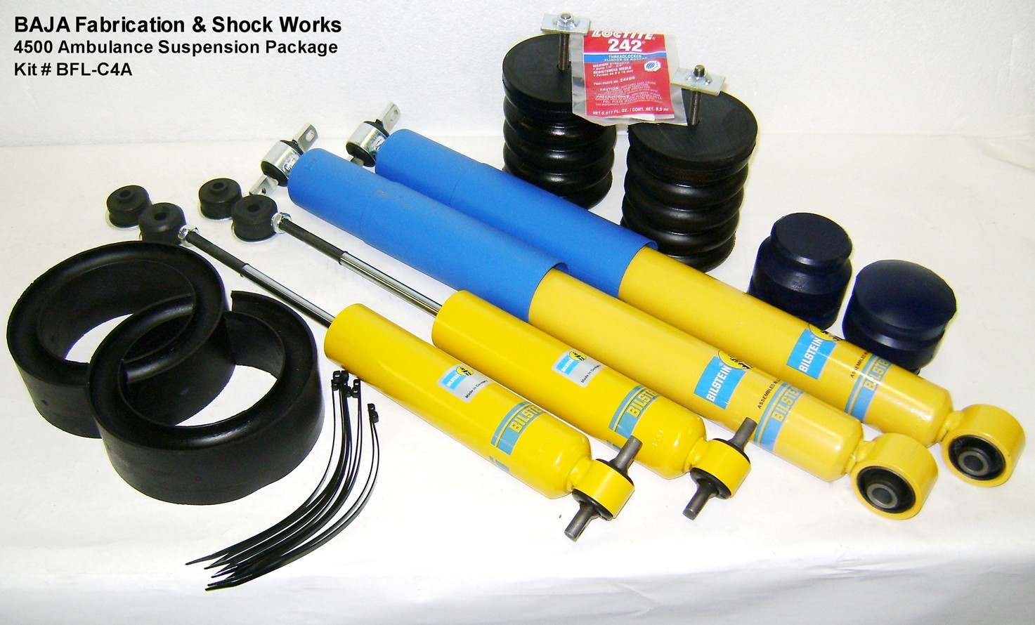This combination of bump stops and shock absorbers has been created to improve the handling and ride for a fleet of ambulances.