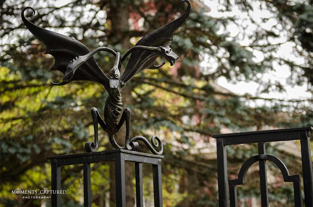 Gargoyle atop of Stephen King's fence at his Bangor, ME home