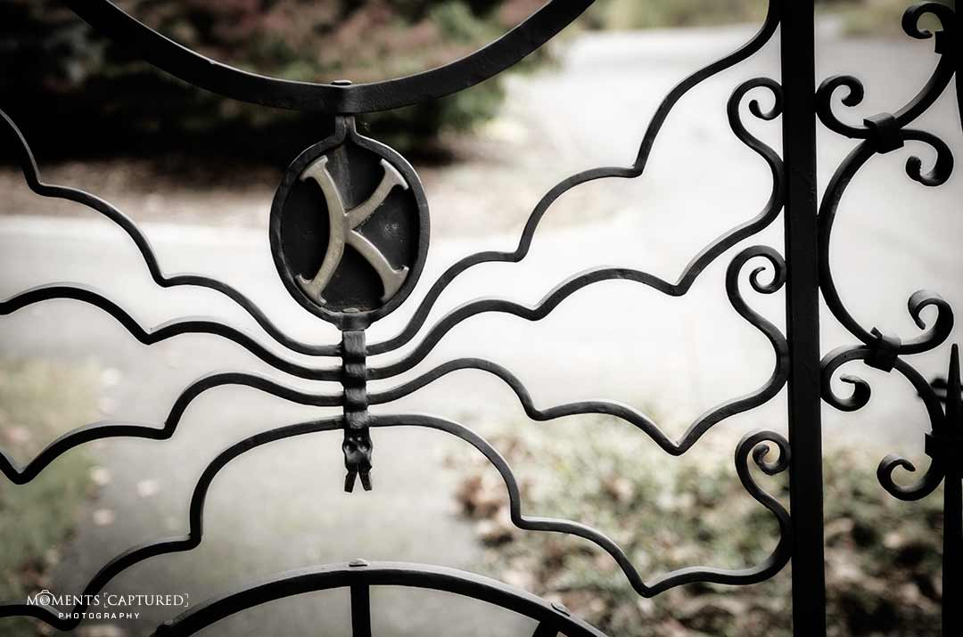 """The """"K"""" on Stephen King's fence at his Bangor, ME home."""