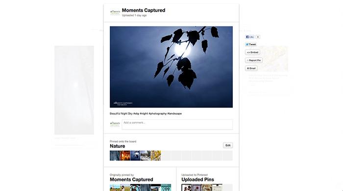Screenshot of Moments Captured Pinterest Board
