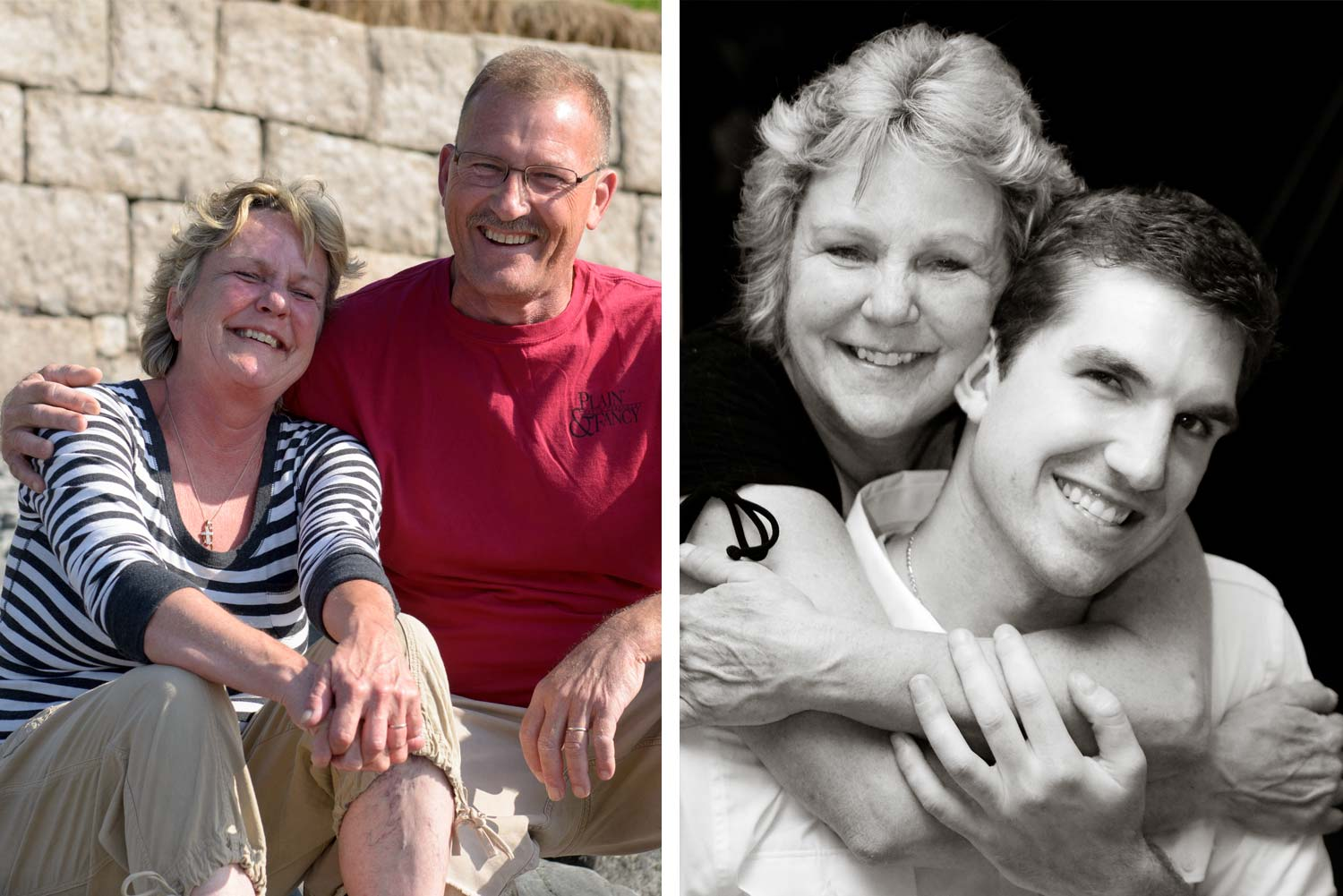 (Left) Mom and Dad in Bar Harbor sharing a laugh together (right) Mom and I at my wedding reception