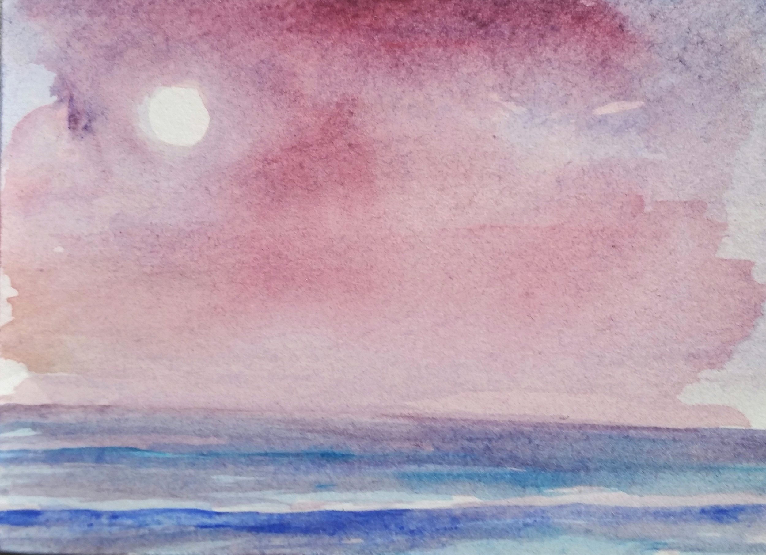 Full Moon Red Sunset
